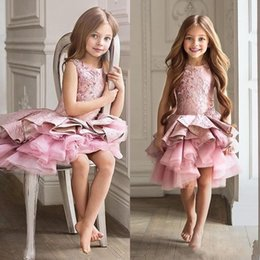 Wholesale White Pageant Dresses For Toddlers - Gorgeous Pink Toddler Flower Girl Dress For Wedding A-line Knee Length Beauty Pageant Dress Christmas Ruffles Girl Evening Party Gown MC1545