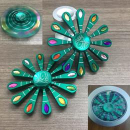 Scatola di ferro in alluminio online-La più nuova mano Spinner Diamond Style Peacock apre schermo Fidget Spinner Decompression Toy Lega di alluminio giocattoli di ansia Regalo Iron box WX-T102