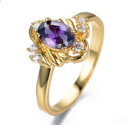 Wholesale Multi Color Stone Rings - Fashion Jewelry Multi Color Zircon Stone Size 6 7 Fashion Purple Amethyst CZ Rings 10KT Yellow Gold Filled Women Wedding Engagement Ring 201