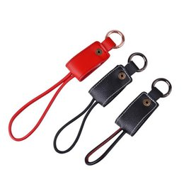 Wholesale Keychain Micro Charger - Leather buckle Portable Keychain Micro USB Data Connector Mobile Chargers Cable for samsung S8 S7 ap567