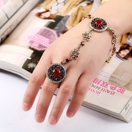 Wholesale Conjoined Ring Bracelet - Europe exaggerated retro folk style diamond bracelet ring opening alloy carved conjoined one hand chain chain