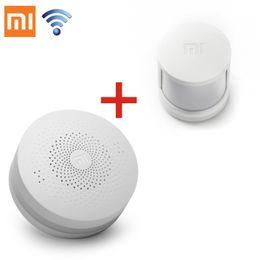 Wholesale Mini Human Sensor - Wholesale- 2 in1 Original Xiaomi Intelligent Mini Human Body Sensor Pocket Size Smart Home + Home Multifunctional Gateway Alarm System