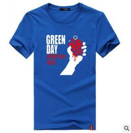 Wholesale U S T Shirts - Summer Men GREEN DAY printing slim U-neck Cotton T-shirts Casual loose tops Short Sleeve Simple Fashion Tees Primer shirt
