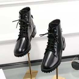 Wholesale Womens Genuine Leather Combat Boots - Black Lace up Leather Boots Female Flat heel Fall Winter New 2018 Womens Combat Booties
