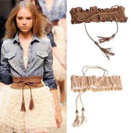 Wholesale wide black corset belt - Wholesale- free shipping Lady Girl Hollow Fringed Tassel Elastic Cinch Corset Wide Waist Belt Waistband