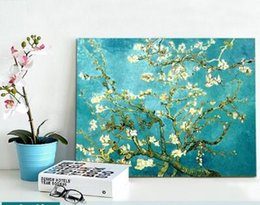 Wholesale Morden Fashion - 2017 Christmas Gift Canvas Painting Wall Picture Van Gogh Apricot Flowers Canvas Art Home Decor Morden Huge Pictures Canvas Only