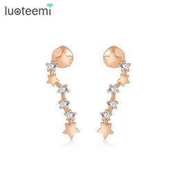 Wholesale White Gold Star Stud Earrings - LUOTEEMI New Sample Design Ear Accessories Stars Wedding Party Brincos CZ Stone Stud Earrings White&Rose Gold-Color Jewelry