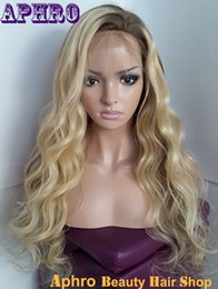 Wholesale Human Wigs For White Women - 100% Human Hair Ombre Virgin Hair Glueless Silk Top Full Lace Wigs 150%density Brown Blonde Brazilian Hair Lace Front Wigs For White Women