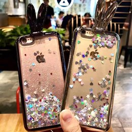 Wholesale Flow Iphone - Rabbit Ears Flowing Flaoting Sparkle Stars Hearts Quicksands Liquid Cover Electroplating Bumper Soft TPU For iphone 6 7plus iphone 7 cases