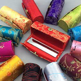 Wholesale Silk Brocade Fabric Wholesale - Vintage Cheap Empty Lipstick Case Mirror Chinese Silk Brocade Lip Balm Tubes Packaging Box Lip gloss Makeup Containers Free shipping