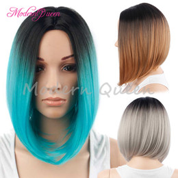 Wholesale Blue Bob Wig - Synthetic Wigs for Black Women Ombre Blue Brown Sliver Grey Wig Dark Roots Natural Cheap Bob Hair Wig Female Hair Sale Cheap Fiber Hair Wigs