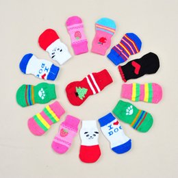 Wholesale Knitted Cute Shoes - 4size pet socks for dog & cat Cute Puppy Dogs Soft Cotton Anti-slip Knit Weave Sock Skid Bottom Dog cat Socks Clothes 4pcs set