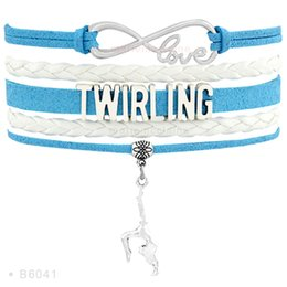 Wholesale Dancer For Women - Infinity Love Twirling Dancer Charm Bracelets For Women Gifts Jewelry Pink Black White Light Blue Coloeful Leather Wrap custom