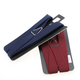 Wholesale Heavy Duty Polyester - Wholesale-New Men's 2.5Inch Wide Adjustable Four Clip-on Y- Back Elastic Black Brown Heavy Duty Braces Suspenders Mens