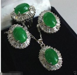 Wholesale Jade Silver Jewellery China - Genuine natural green jade pendant Necklace ring Earring Sets Jewellery AAA