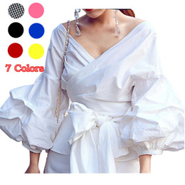 Wholesale Black White Ruffle Top - Women White Ruffles Blouse Shirts Fashion Puff Sleeve V Neck Ladies Elegant Tops Clothing Tops Female Clothes Blouses Shirt with Bow Tie