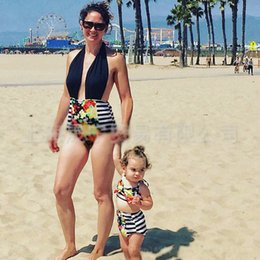 Wholesale Swimsuit Mother - 2017 mother and daughter clothes mom daughter Bikini stripe Print Flower baby Swimsuits Girl Swim Suits One-piece Child Sets Beachwear A582