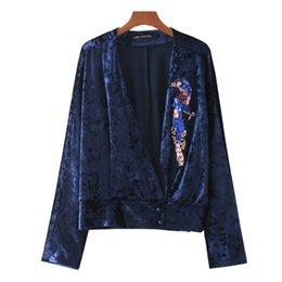 Wholesale Bird Pattern Blouse - Women's autumn new fashion luxury v-neck long sleeve beading crystal paillette bird pattern velvet blouse shirt plus size SML
