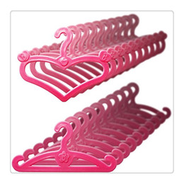 Wholesale Hangers For Clothes - High Quality Barbie Dolls Hangers Pink Plastic Hangers For 11.5 Inch Barbie Dolls Clothes Display Hoder Dress Form Clothes
