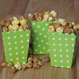 Wholesale Wholesale Party Paper Cups - Popcorn food carton color wave point snack bag disposable Birthday wedding dinner party supplies 1000pcs DHL Free