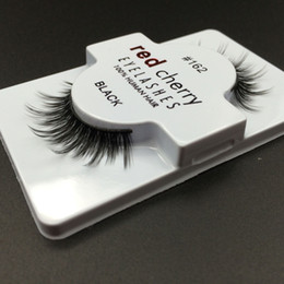 Wholesale Eye Lashes Human Hair - 1 Pair Red Cherry Women Makeup 100% Real Human Hair Thick 3D False Eyelashes Popular Messy Nature Eye Lashes Black Handmade Lashes Extension