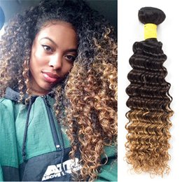 Wholesale Brazilian Hair Packages - 8A Ombre Brazilian Deep Wave 3Bundles 300g package 1B 4 30# Human Hair Weaves Mink Brazilian Ombre Virgin Hair Deep Wave Extensions Wefts