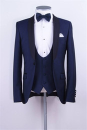 Wholesale Shawl Tuxedos - Three Pieces Wedding Tuxedos for Men 2017 Shawl Lapel One Button Mens Suits for Groom Custom Made Suit (Suit+Pants+Vest)