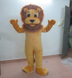 Wholesale Lion Mascots For Sale - sm0511 100% real photos furry head brown little lion mascot costume for adult to wear for sale