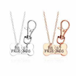 Wholesale Keychain Pendants - 2017 Gold Silver BEST FRIENDS Pendant Necklace pet dog bones jewelry BFF Necklace 2 part dog bones necklace and keychain 161852