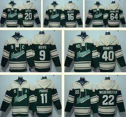 Wholesale Ice Hockey Hoodies - Men's Minnesota Wild 11 Zach Parise 20 Suter 16 Zucker 64 Granlund 9 Koivu 40 Dubnyk 22 Niederreiter Green Hockey Hoodies Sweatshirt jerseys