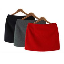 Wholesale Skirt Woman Fashion Korea - Fashion Autumn Winter Mini Skirts 2016 Women Solid Slim A-Line Pencil Skirts Plus Size Candy Colors Korea Women Skirt