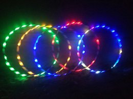 Wholesale flash wheel lights - New Colorful Light Flash LED Plus Hula Hoop Glow in Dark Fitness Sports Fitness Body Building Equipments