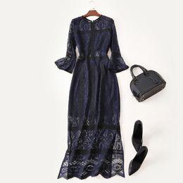 Wholesale Women Dres - Women Dress Long 2017 Autumn Fashion Solid Hollow Out Round Neck Three Quarter Flare Sleeve Slim Elegant Split Ankle Length Dres