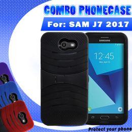 Гибридный робот combo phone case онлайн-Противоударный для SAMSUNG J7 2017 LG Stylo 3 ls777 кремния + ПК 2 в 1 Волна Kickstand гибридный робот combo телефон случае