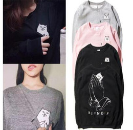 Wholesale Cheap Pullovers For Women - RIPNDIP hedging Tide brand for men and women couple long-sleeved round neck cashmere sweater off whie cotton sweater middle finger cheap cat