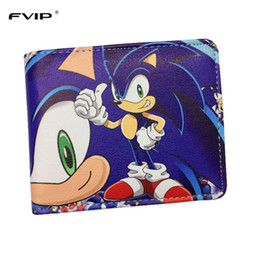 Wholesale Teenagers Shorts - Wholesale- FVIP Sonic the Hedgehog Anime Wallet PU Cartoon Super Sonic Wallets for Student Teenager