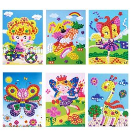 Wholesale Eva 3d Foam Stickers - Wholesale- 6pcs Lot Kids EVA Foam Mosaic Stickers toy Art Puzzle DIY Handmade 3D Diamond Pasted Cartoon Character Children Educational Toy