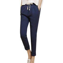 Wholesale Women Match Cargo - 2017 Summer Harem Pants Women High Elastic Waist Loose Cotton Linen Solid Nine Pants Plus Size Pockets Casual All-match Trousers