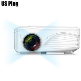 Wholesale Dlp Glasses - Wholesale- White New Upgrade Real three glasses lens High performance LCD Handheld 3D home cinema projector Native 800x480 Support 1080