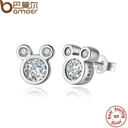 Wholesale Push Jewelry - BAMOER Popular 925 Sterling Silver Dazzling Miky Mouse Push-back Stud Earrings for Women & Girls Jewelry PAS457