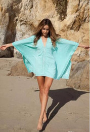 Wholesale Poncho Bikini - Women Beach blouse New Hot Fashion Cotton Lace Kimono Poncho Kaftan Scarf Dress Bat sleeves Bikini Cover Up Beachwear