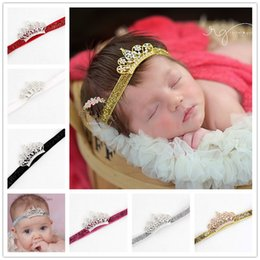 Wholesale Child Tiara Wedding - Baby Infant Luxury Shiny diamond Crown Headbands girls Tiara Wedding Hair bands Children Hair Accessories Christmas boutique Hairband KHA93