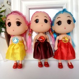 Wholesale western style cotton dresses - Hot selling Cute Mini Ddung ddgirl Dolls Phone Pendant Fashion Popular 12CM Gum Dolls Girl Toys good Christmas gift for girl Plush Toys