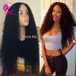 Wholesale Human Hair Middle Part Wigs - Virgin brazilian human hair u part wig 2X4 1X3 middle side opening kinky curly u part wig for black women grade 7a upart wigs