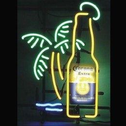 "Wholesale Lighted Bottle Display - 17""x14"" Corona Extra Bottle Palm Tree Neon Light Sign Beer Bar Pub Shop Display"