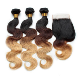 Wholesale Extension Hair Wave - Human Hair Ombre Body Wave Brazilian Hair Weaves With Lace Closure Three Tone 1B 4# 27# Grade 7A Ombre Virgin Hair Extensions