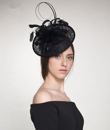 Wholesale Church Hats Fascinators - new arrival small saucer sinamay hat with feathers fascinator for kentucky derby wedding party church hot fashion