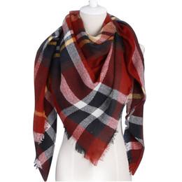 Wholesale Red Plaid Wool Blanket - Winter Scarf 2017Brand triangle Tartan Cashmere Scarf Women Wool Plaid Blanket Scarf Pashmina Wrap Shawls and Scarves Hijab