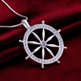 Wholesale Caribbean Fashions - Fashion 925 Sterling Silver Pendant Necklaces Pirates of the Caribbean Rudder Vintage Charm Necklaces Pendant for women and men