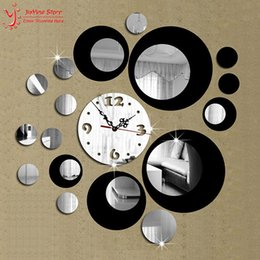 Wholesale Double Wall Clock - Wholesale- Double Color New 3D Home Decoration Wall Clock Stickers Decal DIY Vintage Mirror Wall Clock Modern Design Watch Wall Home Decor